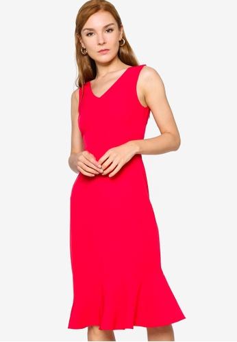 ZALORA WORK red Fluted Hem Dress ED5C7AA12A9F43GS_1
