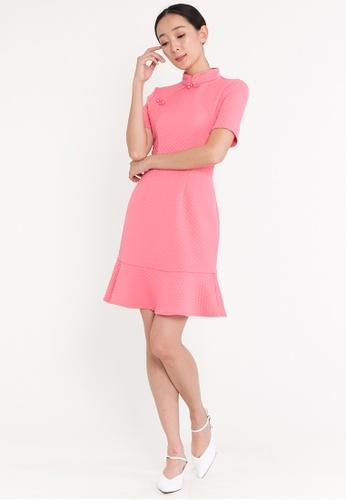 BEBEBUTTERFLY pink BebeButterfly Women's MIni Short-sleeved Dress Improved Cheongsam DB5D4AAA9457D0GS_1