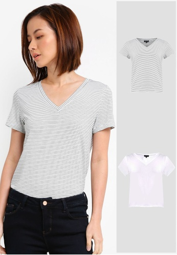 ZALORA BASICS grey and white and multi 2 Pack Essential V Neck Tee ZA274AA0JFN1SG_1