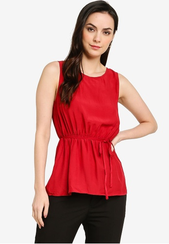 ZALORA WORK red Gathered Waist Shell Top 93AB4AAC1AA1A0GS_1