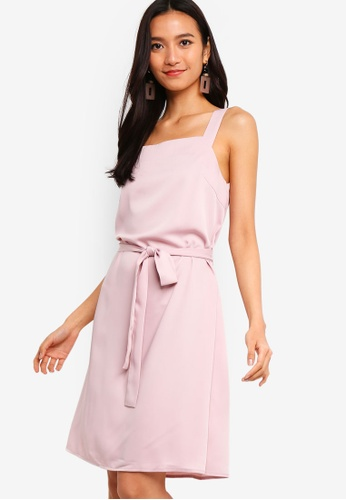 ZALORA 粉紅色 Square Neck Sleeveless Dress 6F10EAAE43F480GS_1