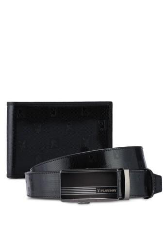 Playboy black Playboy Belt & Wallet Gift Set BF371AC7766933GS_1