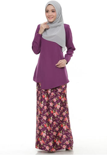 Amanda Blouse & Skirt Set (Dark Purple) from Ms.Husna Apparel in Purple