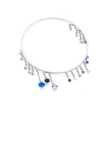 Glamorousky silver Enchanting Bangle with Blue and Silver Austrian Element Crystals 66096AC15C5E2BGS_1