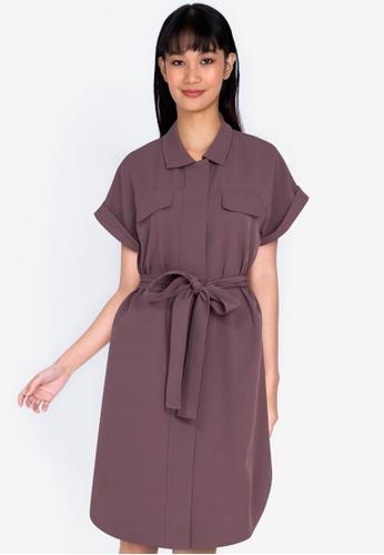 ZALORA BASICS purple Utility Dress with Self Tie ECF10AA516D332GS_1