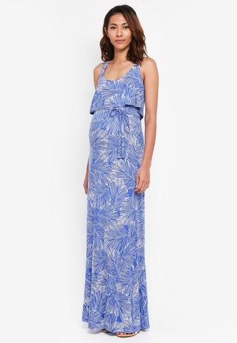 JoJo Maman Bébé blue Maternity Palm Maxi Dress 117B7AA0FE642DGS_1
