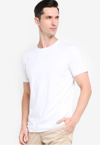 ZALORA BASICS white Short Sleeve Raw Edge T-shirt F1884AA50F3AF7GS_1