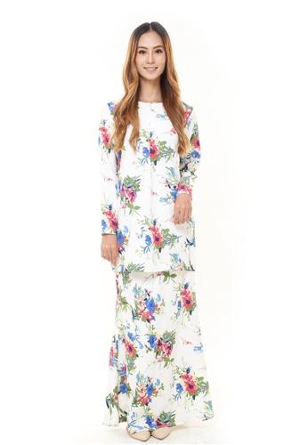 Rina Nichie Couture white Rina Printed Kurung Colourful Flower 10370AAADC0BCFGS_1