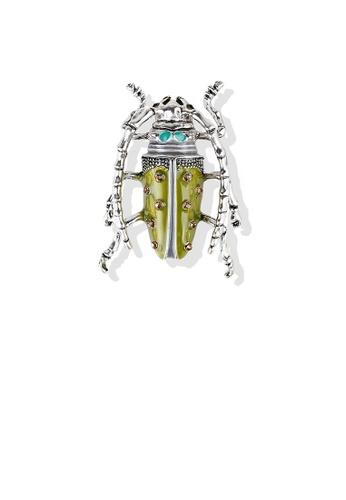 Glamorousky brown Fashion Personality Enamel Locust Brooch with Cubic Zirconia DE765AC57B1062GS_1