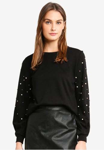 ONLY black Asti L/S Embellished Sweatshirt 2BF8BAA9C428DBGS_1