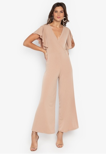 1efd73a4a13 Shop Ashley Collection V-Overlap Ruffle Sleeve Jumpsuit Online on ...