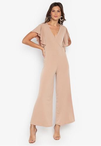 5c91b8f8c03 Shop Ashley Collection V-Overlap Ruffle Sleeve Jumpsuit Online on ...
