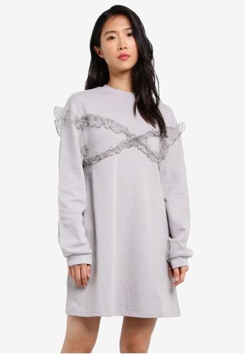 LOST INK grey Dobby Frill Sweat Dress LO238AA0RVILMY_1