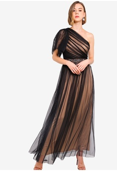 e30cc1b4a5c6 Lace & Beads black Tulle Maxi Dress 4F4BCAADAD00AAGS_1
