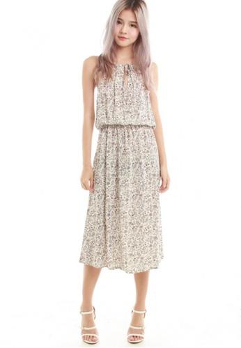 Sophialuv beige Nayda Halter Midi Dress in Nude Floral 3A85DAAC0B7363GS_1