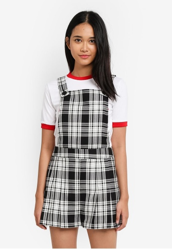 TOPSHOP black Tartan Pinafore Playsuit AAC0CAA5BDF267GS_1
