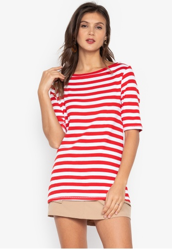 MARKS & SPENCER red Pure Cotton Striped Half Sleeve T-Shirt DFC98AA746362BGS_1