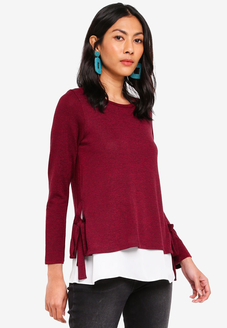 Tie Red 1 Side 2 Dorothy Perkins Top In Red x8TY7A