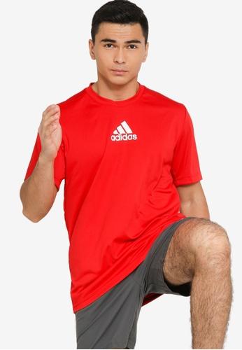 ADIDAS red primeblue designed to move sport 3-stripes tee 348EEAA20693B6GS_1