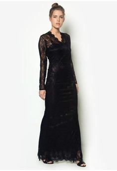 Lovely Lace Black Maxi Dress