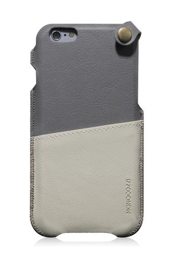 Monocozzi grey Posh Soft Leather Pouch For iPhone 6 Plus MO983AC62BXDHK_1