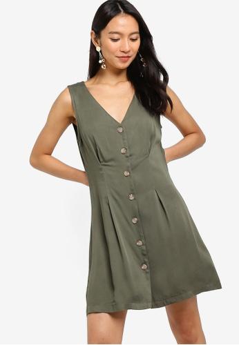 ZALORA green Button Details A-Line Dress A500AAA19A0F1EGS_1