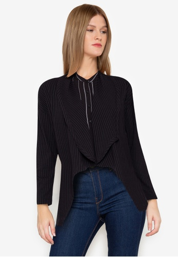 ZALORA BASICS black Oversized Waterfall Cardigan 5D6B4AA23DD614GS_1
