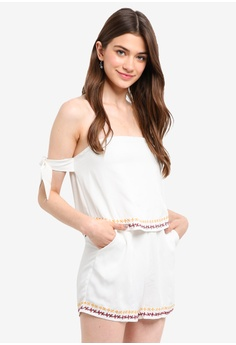 87f3fc517b7 Something Borrowed white Embroidered Off Shoulder Romper 6973BAAB6FAF4AGS 1
