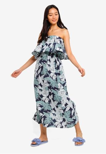 8c841e3c6c44e7 Shop NAIN Leaf Print Ruffle Off Shoulder Maxi Dress Online on ZALORA ...