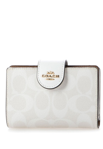 Coach white Coach Medium Corner Zip Wallet In Signature Canvas - Gracier White 30519ACFB5DE4CGS_1