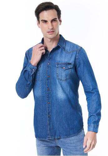 Sisley blue Denim Shirt 1C692AA0D01F81GS_1