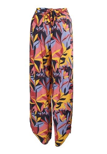 Sunseeker multi Stencilled Tropics Wide Legs Beach Pants 87BFBUS296C7BEGS_1