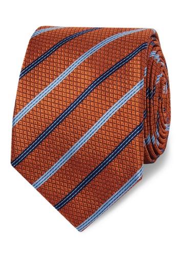T.M. LEWIN orange T.M.Lewin Orange Multi Stripe Textured Silk Slim Tie 0E9E3AC3638D6BGS_1