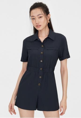 Pomelo blue Short Sleeves Elastic Waist Romper - Navy 171BCAA8504F95GS_1