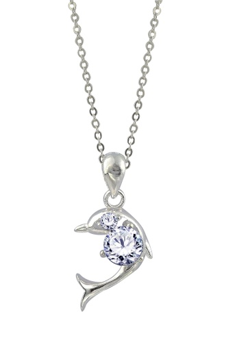 SC Tom Silver silver Dolphin Stone Pendant with Chain SC872AC19FIYPH_1