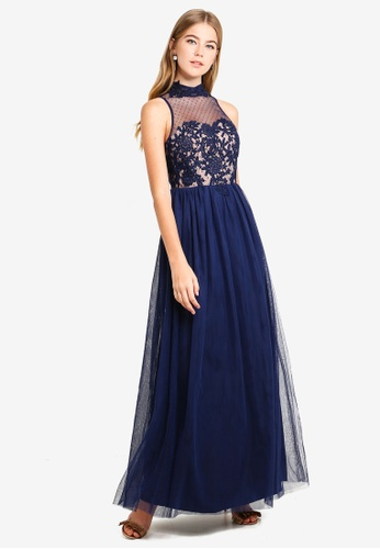 Little Mistress navy Navy Sot Trim Maxi Dress 49F52AA8939373GS_1