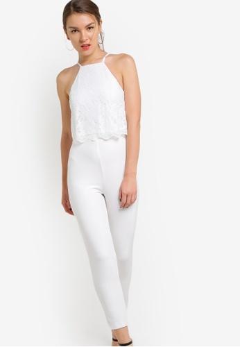 Miss Selfridge white Petite White Lace Overlay Jumpsuit MI665AA25NTYMY_1
