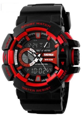 Skmei red Jam Tangan Sport Watch Digital Analog Pria Strap Tali Material PU Anti Air 50m ORIGINAL - SS67 64203AC9B0696CGS_1