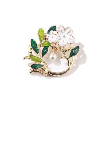 Glamorousky white Fashion and Elegant Enamel Flower Green Leaf Geometric Imitation Pearl Brooch 12F33ACFB4A783GS_1