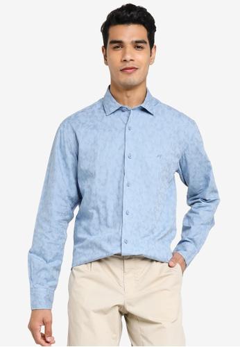 Sacoor Brothers blue Slim fit 100% cotton jaquard shirt 5BA74AA811B43EGS_1