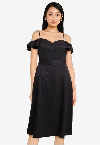 ZALORA BASICS black Cold Shoulder Self Tie Dress 7A6E1AA635BAF7GS_1