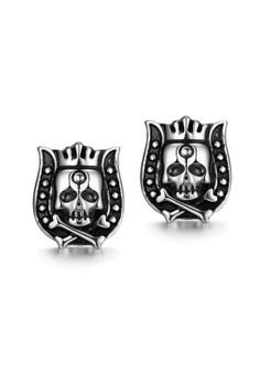 GMYE002 Hip Hop Punk Skull King Stainless Steel Earring