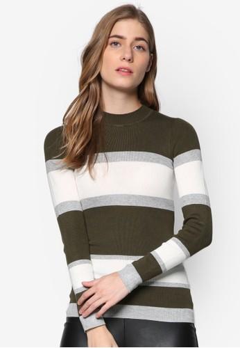 條紋圓領長袖衫, zalora 折扣碼服飾, 服飾