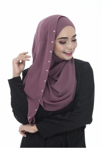 Dreamyza purple Hana Crystal Beads Long Shawl in Grape 5F662AAC100901GS_1