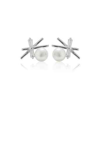 Glamorousky white 925 Sterling Silver Simple Fashion Star Freshwater Pearl Stud Earrings 4A14AACF6025DDGS_1