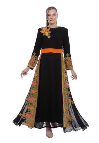 "Devain Kapoor black ""Vanya"" Orange Combination Dress 1B21FAA62C6E7BGS_1"