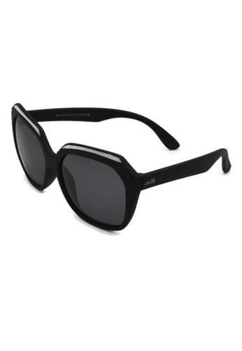 jojo black Oversized Top Glittered Square Polarized Sunglasses DFF18KC9318E4EGS_1