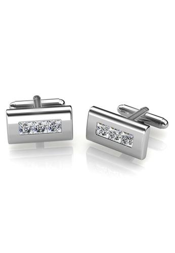 Her Jewellery silver Swarovski® Crystals - Rectangular Cufflinks (18K White Gold Plated) Her Jewellery HE581AC0RAIYMY_1