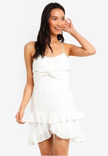 INDIKAH white Sleeveless Knot Front Ruffle Skater Dress 62BDDAA0E4F334GS_1