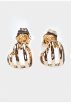 Lined Heart Stud Earrings